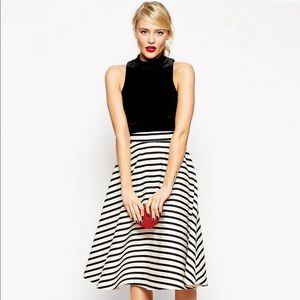 Asos Salon Midi Skirt In Full Satin Stripe